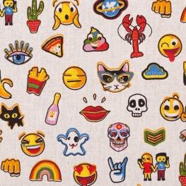 Tissu coton cretonne funny badges & emojis - Multicolore