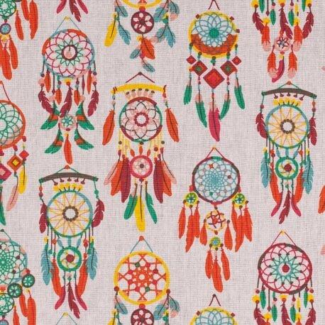 Tissu coton cretonne attrapes rêves - Orange, bleu, vert