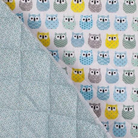 Tissu piqué de coton matelassé mini hiboux & étoiles asahona