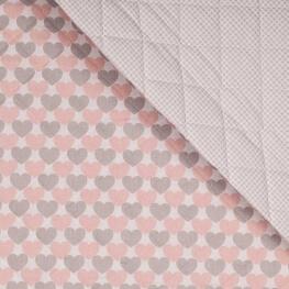 Tissu matelassé coeurs & vichy - Rose & gris