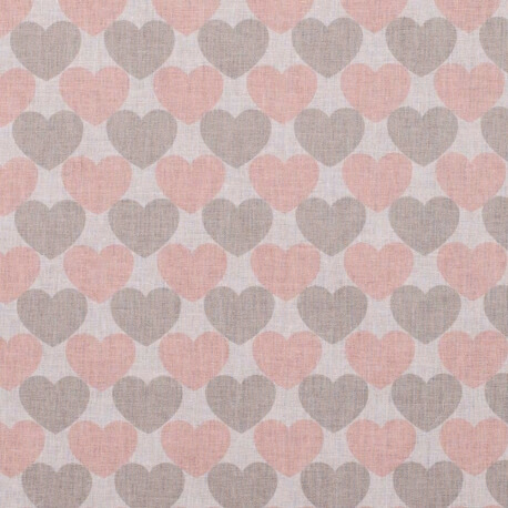Tissu coton coeurs - Rose & gris