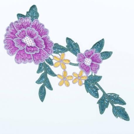 Ecusson fleurs XL - Violet, vert & jaune