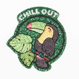 Ecussons toucan Chill Out - Pailleté vert