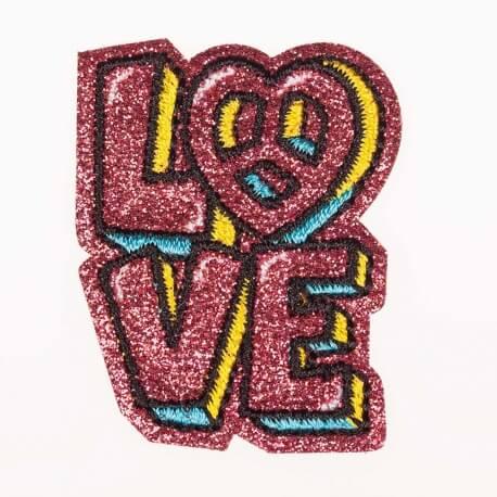 Ecusson Love - Pailleté rose