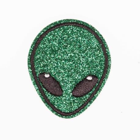 Ecusson tête d'extra-terrestre - Pailleté vert