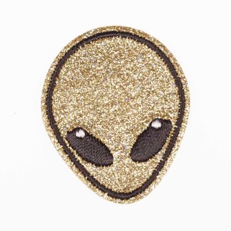 Ecusson tête d'extra-terrestre - Pailleté or
