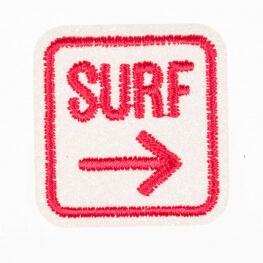 Ecusson surf - Rouge & pailleté blanc