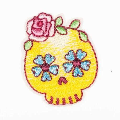 Ecusson skull dia de los muertos - Jaune, bleu & rose