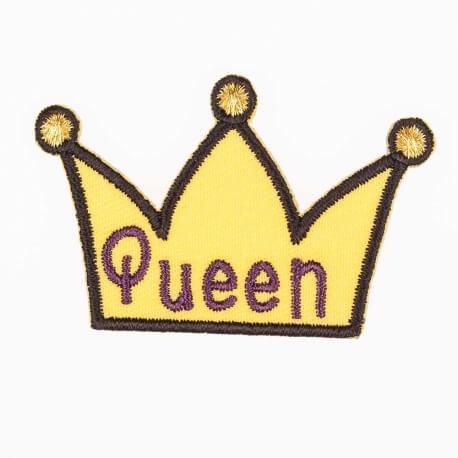 Ecusson Queen couronne - Jaune