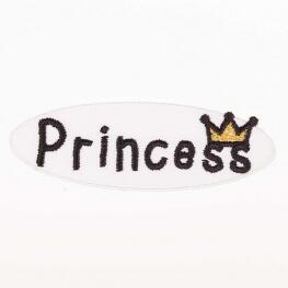 Ecusson Princess couronne - Blanc & jaune