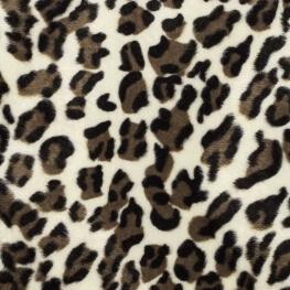 Tissu fourrure rase léopard - Brun, écru & noir