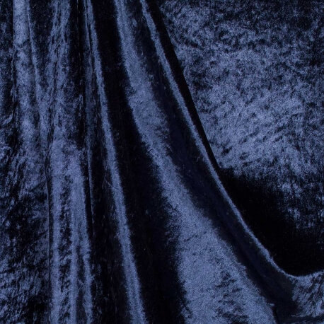 Tissu panne de velours - Bleu marine