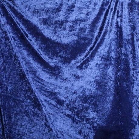 Tissu panne de velours - Bleu roi