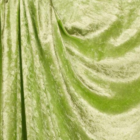 Tissu panne de velours - Vert anis