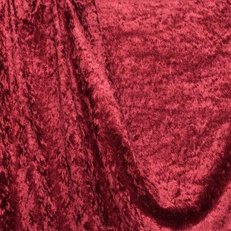 Tissu panne de velours - Rouge bordeaux