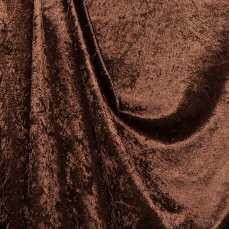 Tissu panne de velours - Marron havane