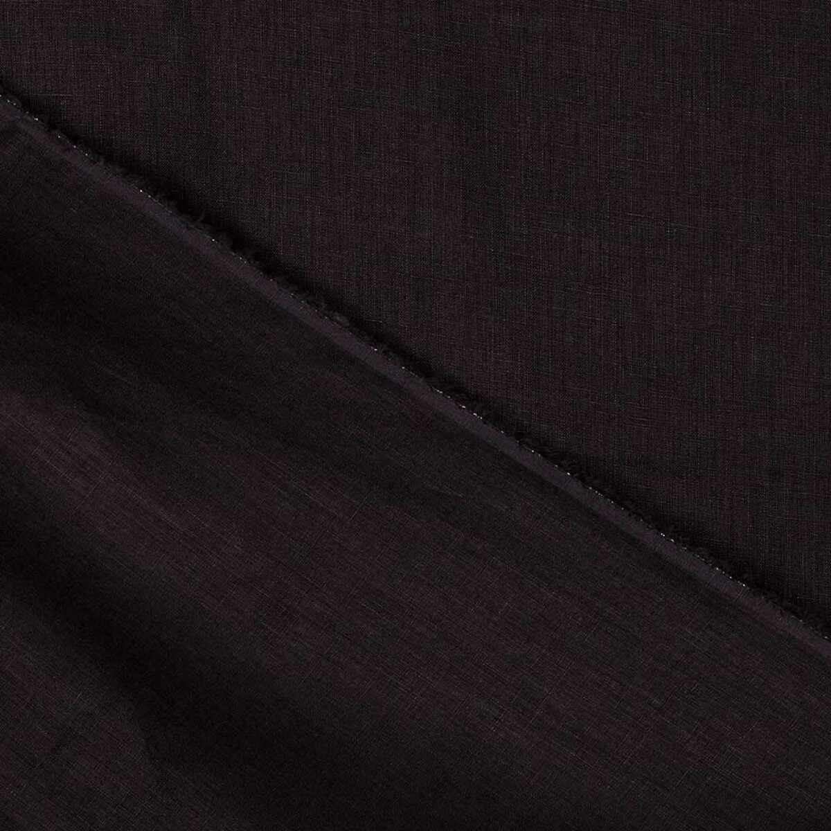 Tissu lin lavé uni 100% biologique - Noir - Mercerie Caréfil b3f5014a4da7