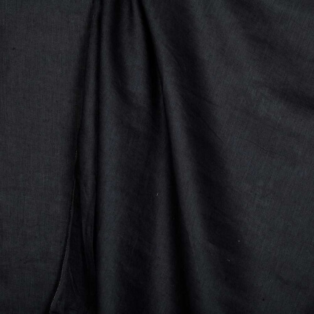 Tissu lin lavé uni bleu marine - Tissu 100% biologique