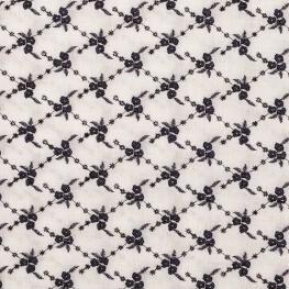 Tissu coton brodé fleuri - Blanc & marine