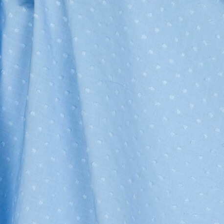 Tissu coton plumetis uni - Bleu ciel
