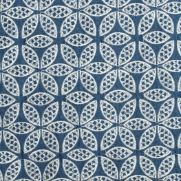 Tissu chambray brodé fleuri - Bleu & blanc