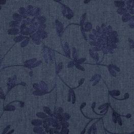 Tissu chambray brodé fleuri - Bleu & marine