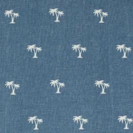 Tissu jean stretch palmier - Bleu ciel