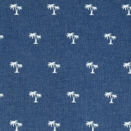 Tissu jean stretch palmier - Bleu