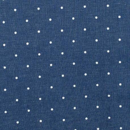Tissu jean stretch à pois - Bleu