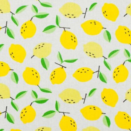 Tissu coton enduit citron jaune - Ecru