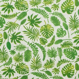 Tissu coton cretonne feuilles palmiers - Vert