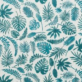 Tissu coton cretonne feuilles palmiers - Bleu