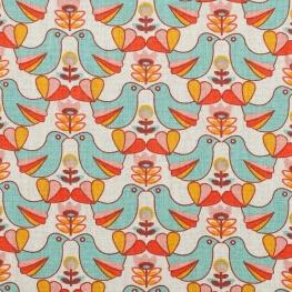 Tissu coton cretonne birdy & holly - Oiseaux