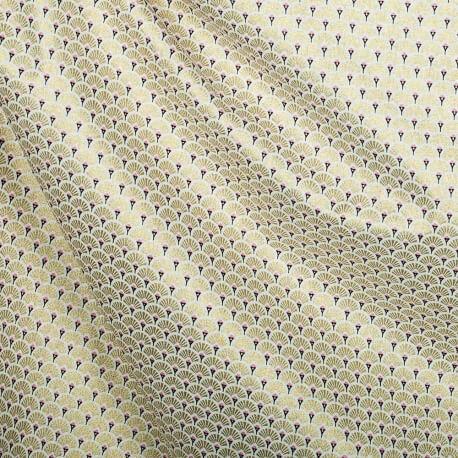 Tissu coton cretonne éventails - Doré & rose