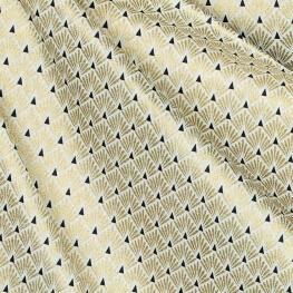 Tissu coton cretonne écailles - Doré & noir