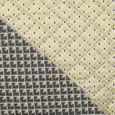 Tissu piqué de coton matelassé écailles dorées & écailles noires