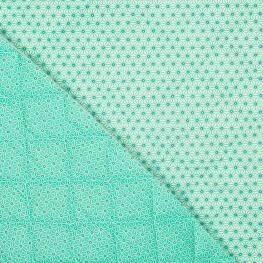 Tissu piqué de coton matelassé étoiles asahona vert aqua