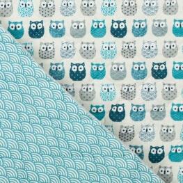 Tissu piqué de coton matelassé mini hiboux & vagues japonaise bleu