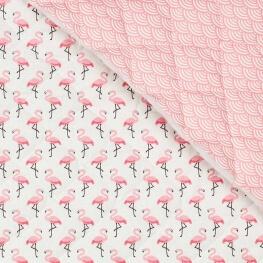 Tissu piqué de coton matelassé flamant rose & vague japonaise