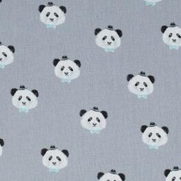 Tissu coton pretty panda - Gris & bleu