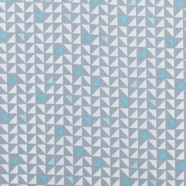 Tissu coton pretty triangles - Gris & bleu