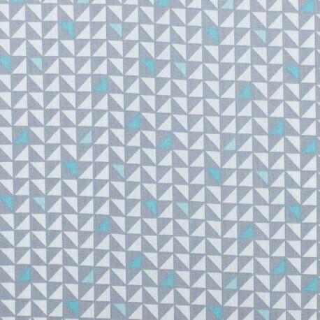 Tissu coton pretty triangles - Gris & bleu