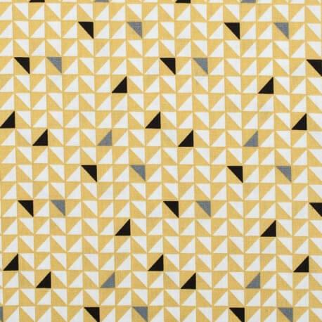 Tissu coton pretty triangles - Jaune
