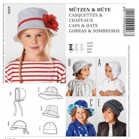 Patron de casquettes & chapeaux - Burda 9496