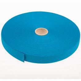 Rouleau sangle coton 20 mètres - Bleu turquoise