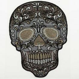 Ecusson tête de mort dia de los muertos - Gris & argent