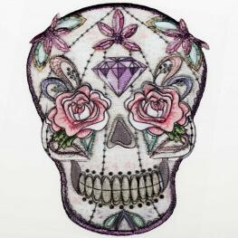 Ecusson tête de mort dia de los muertos - Gris, parme & rose