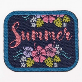 Ecusson summer & flower - Bleu