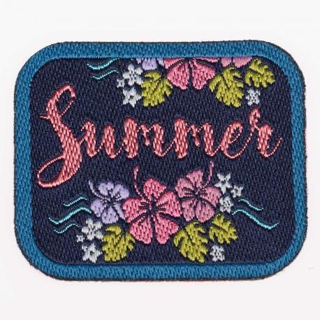 Ecusson summer & flower - Bleu