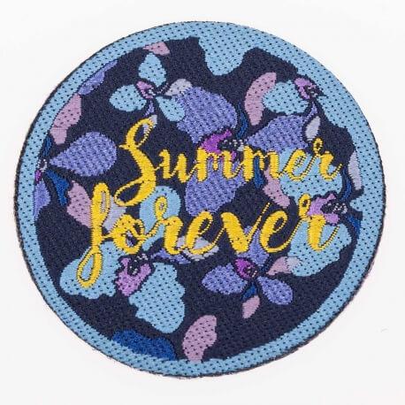 Ecusson summer & flower - Bleu ciel & jaune